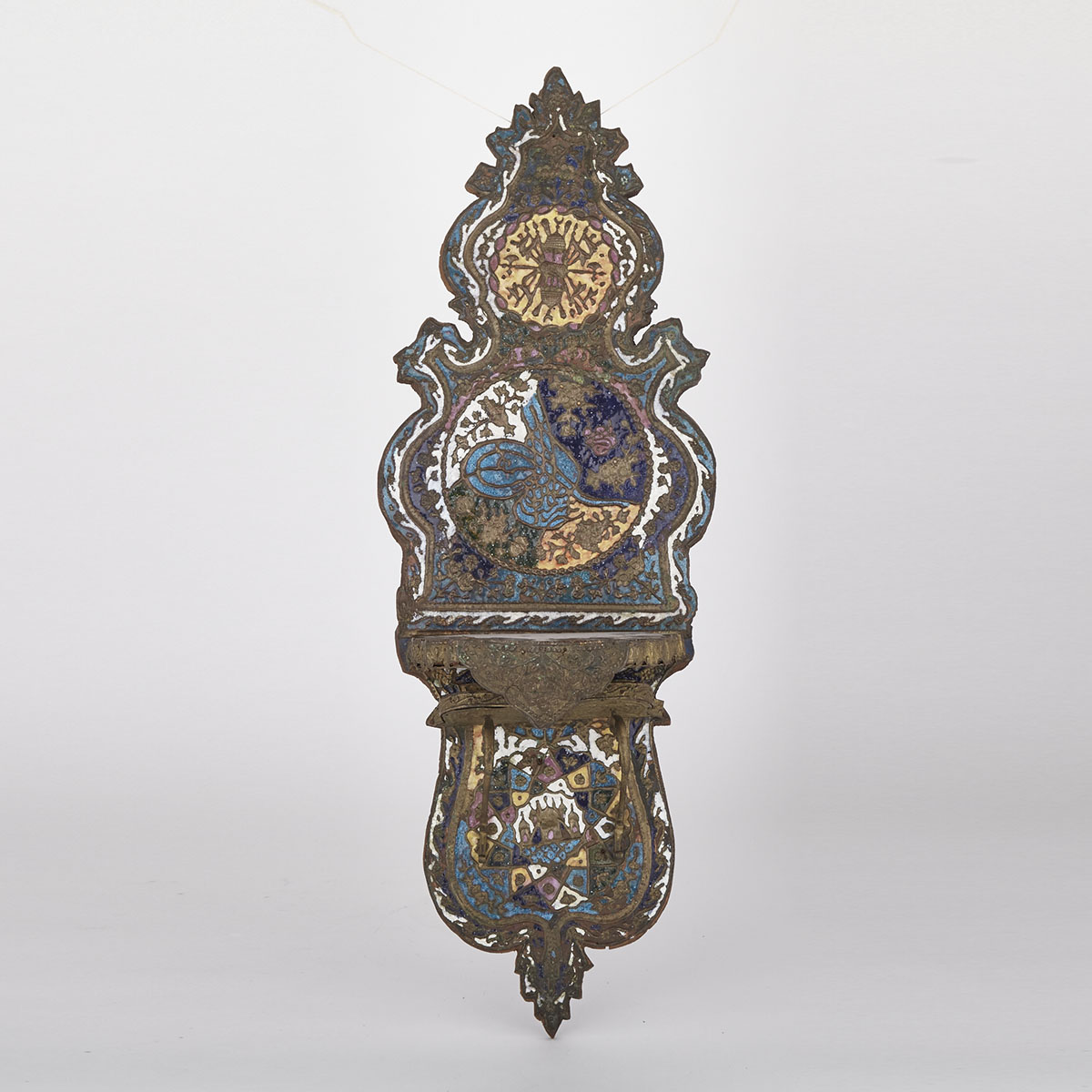Turkish Ottoman Enamelled Brass Kavukluk (Turban Stand), 19th century