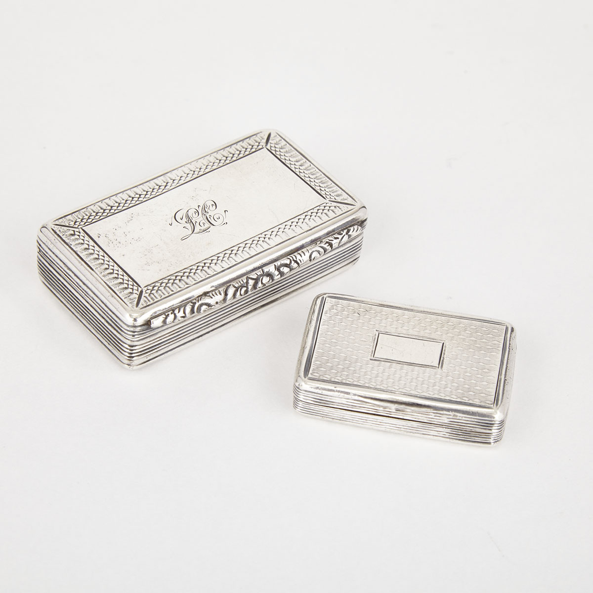 William IV Silver Snuff Box, Francis Clark, Birmingham, 1836 and a Victorian Vinaigrette, William Simpson, 1842