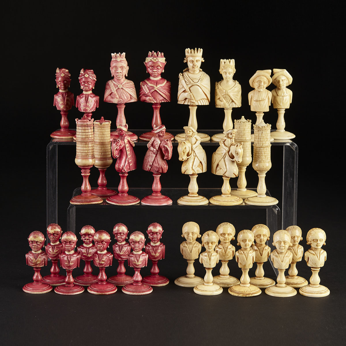French Turned and Carved Ivory Assembled 'Europe vs. Africa' Chess Set, Dieppe, c.1790