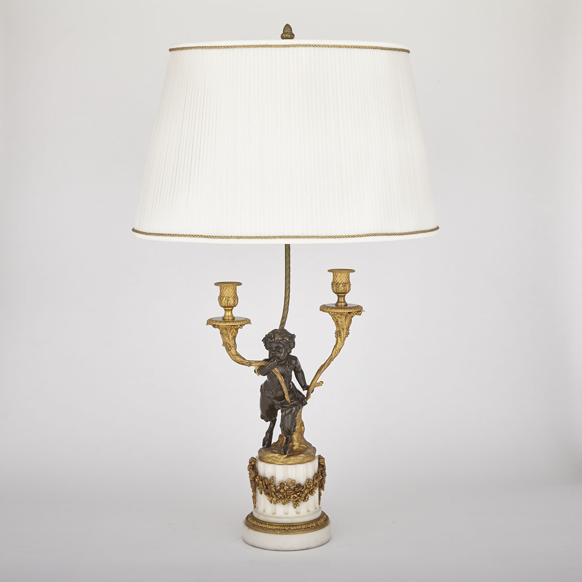French Gilt and Patinated Bronze Figural Candelabra Form Table Lamp, early 20th century