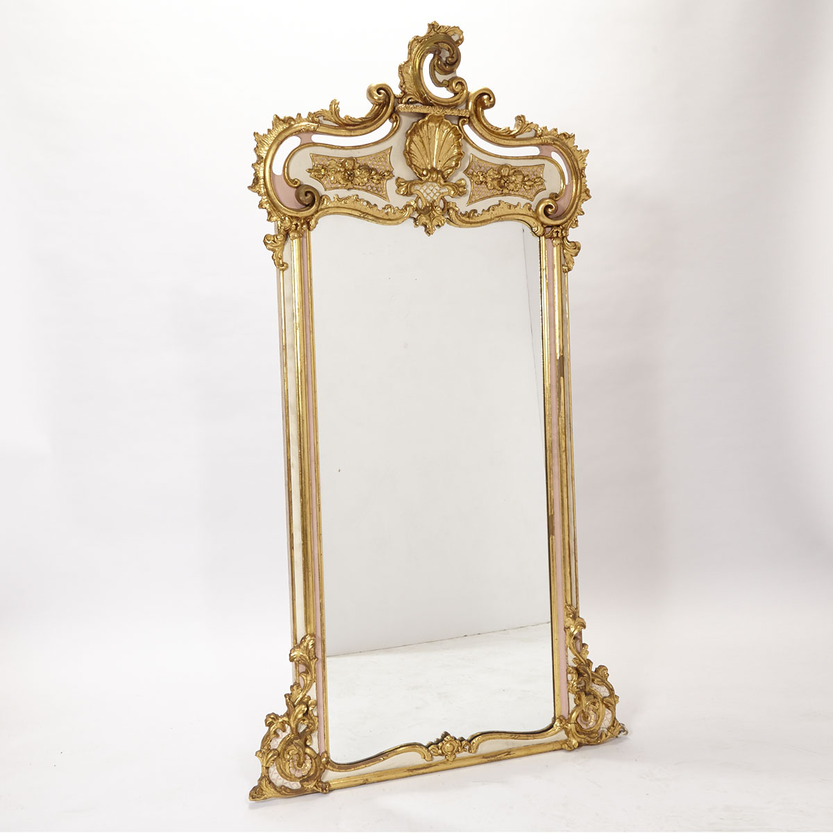 Italian Rococo Painted and Parcel Giltwood Pier Mirror, 19th/early 20th century