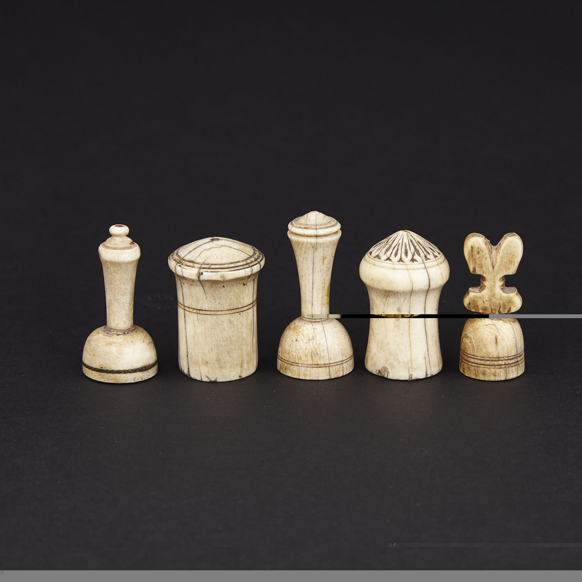 Group of Five Arab Islamic Ivory and Bone Chess Pieces, 18th century and earlier