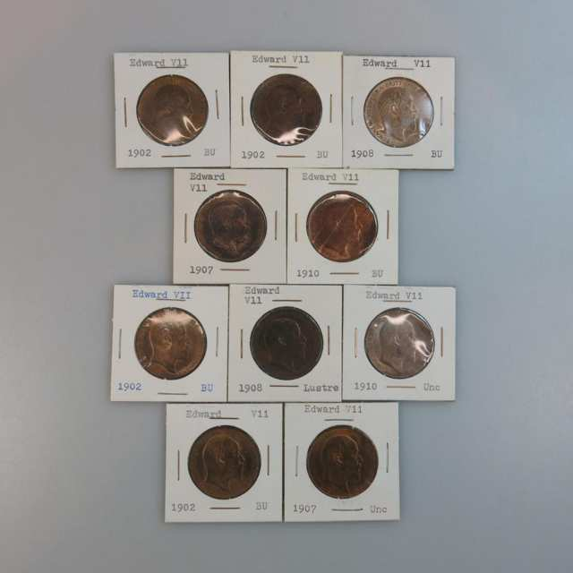 Ten Edward VII British Pennies