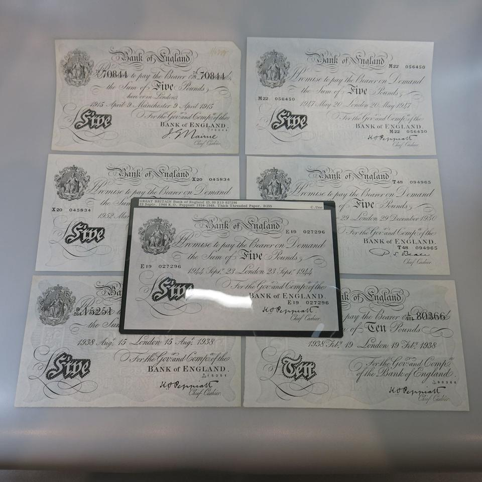 "7 Bank Of England ""White"" Bank Notes from 1915-1952"