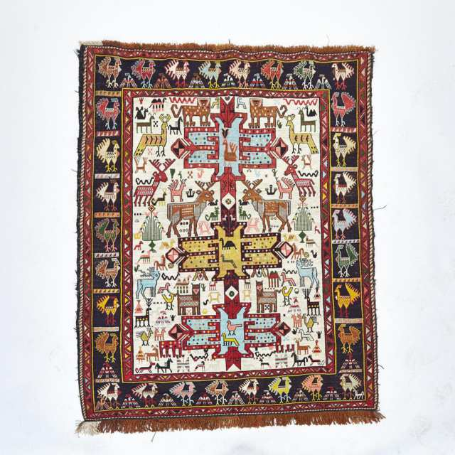 Soumak Rug together with a Hamadan Rug