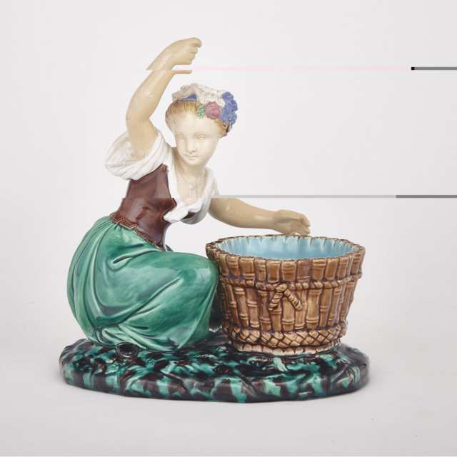 Minton Majolica Sweetmeat Figure of a Girl with Basket, 1865