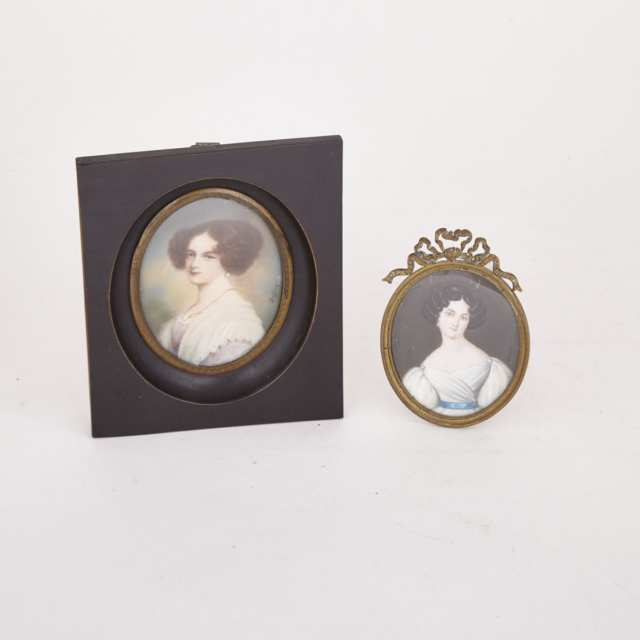 Two British School Miniature Portraits of Noblewomen, early 19th century