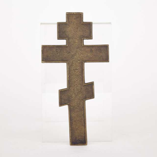 Russian Enamelled Bronze 'Old Believers' Cross-Form Icon, 19th century
