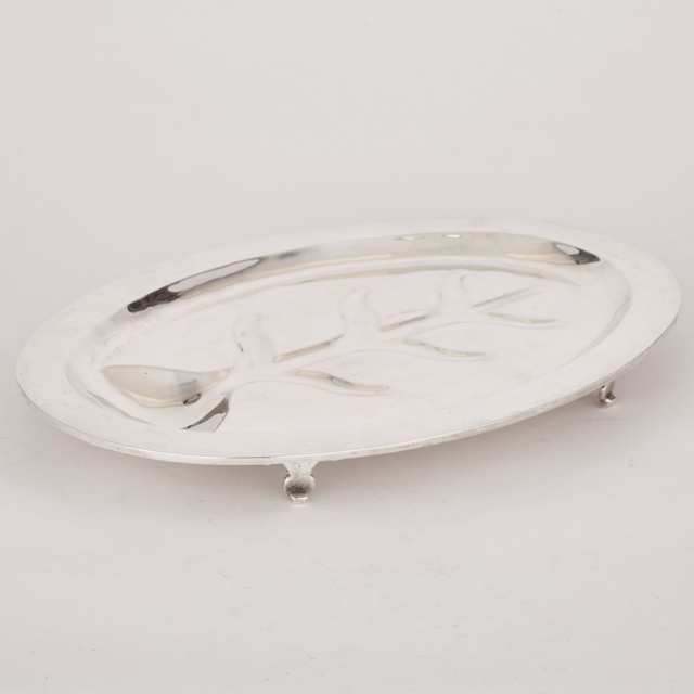 Mexican Silver Oval Well and Tree Platter, 20th century