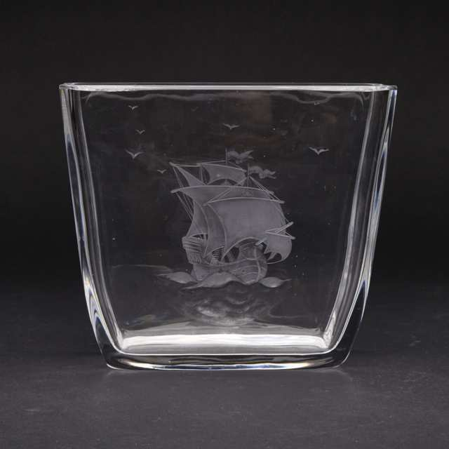 Orrefors Sailing Ship Engraved Glass Vase, 20th Century