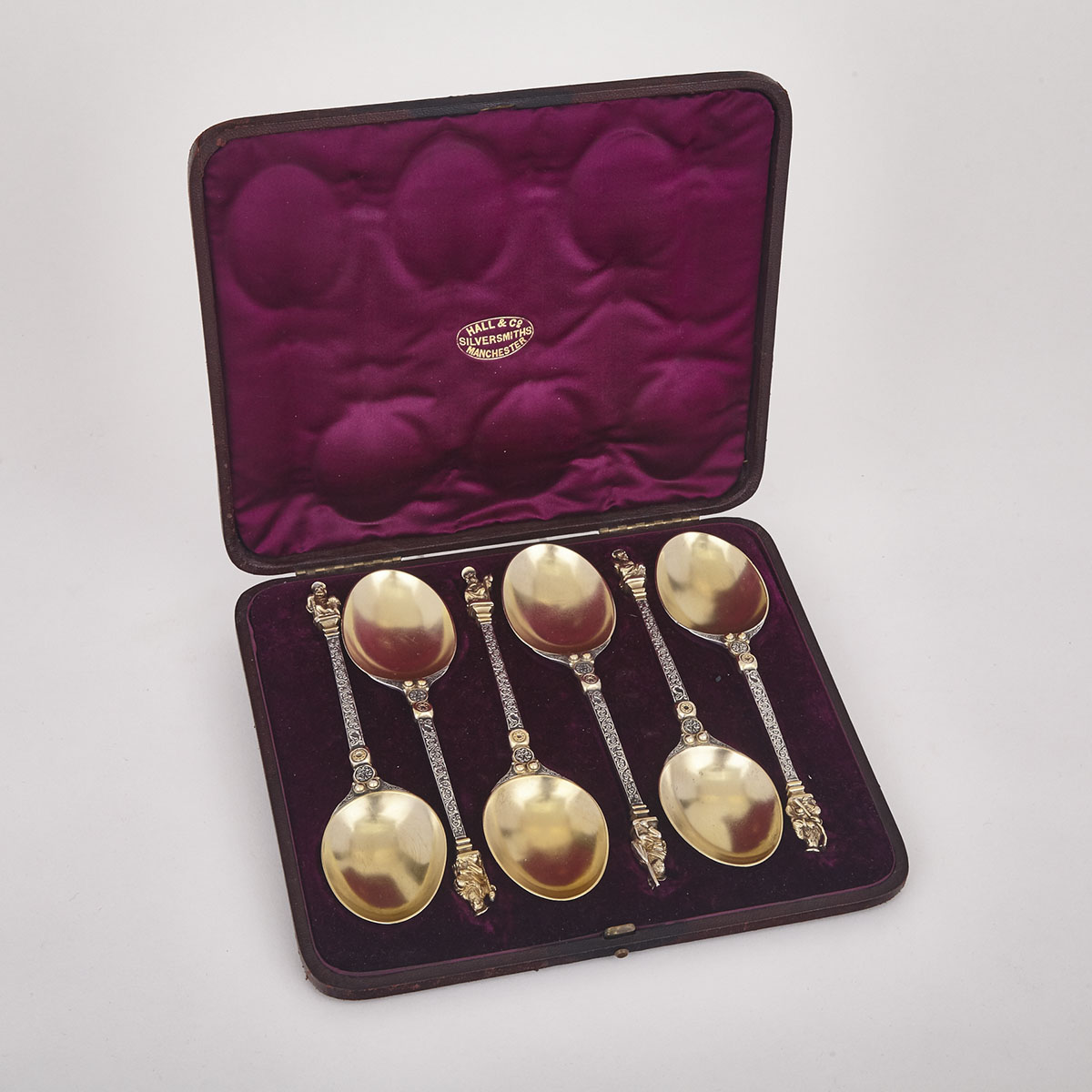 Set of Six Victorian Silver Parcel-Gilt Apostle Berry Spoons, Walter & John Barnard, London, 1877
