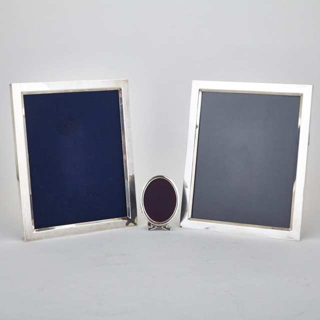 Pair of Canadian Silver Rectangular Photograph Frames and a Smaller Oval Frame, Henry Birks & Sons, Montreal, Que., 1960/62