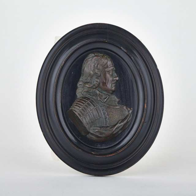 Patinated Bronze Relief Portrait Plaque of a Nobleman, 18th century