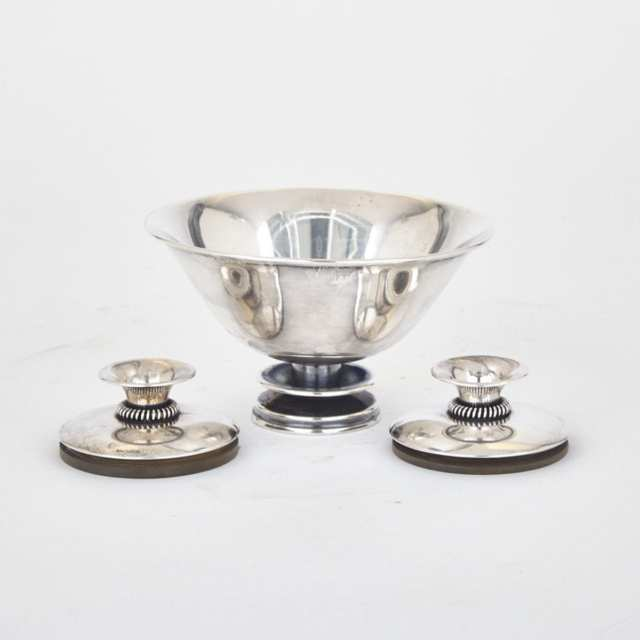Danish Silver Bowl and a Pair of Candle Holders, Copenhagen, 1960