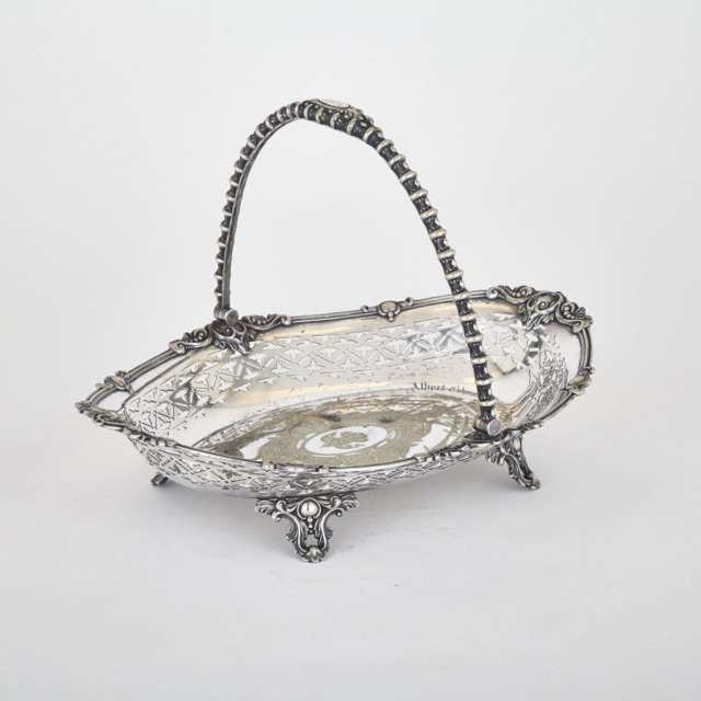[Canadian Historical Interest] Victorian Silver Plated Oval Basket, 1860