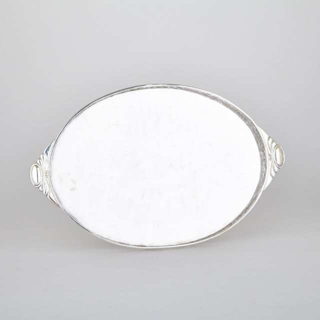 Silver Plated Oval Serving Tray, 20th century