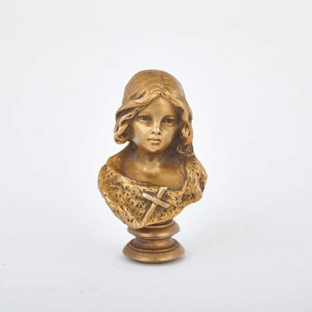 Gilt Bronze Miniature Bust Form Seal by Luca Madrassi (Italian-French, 1848-1919)