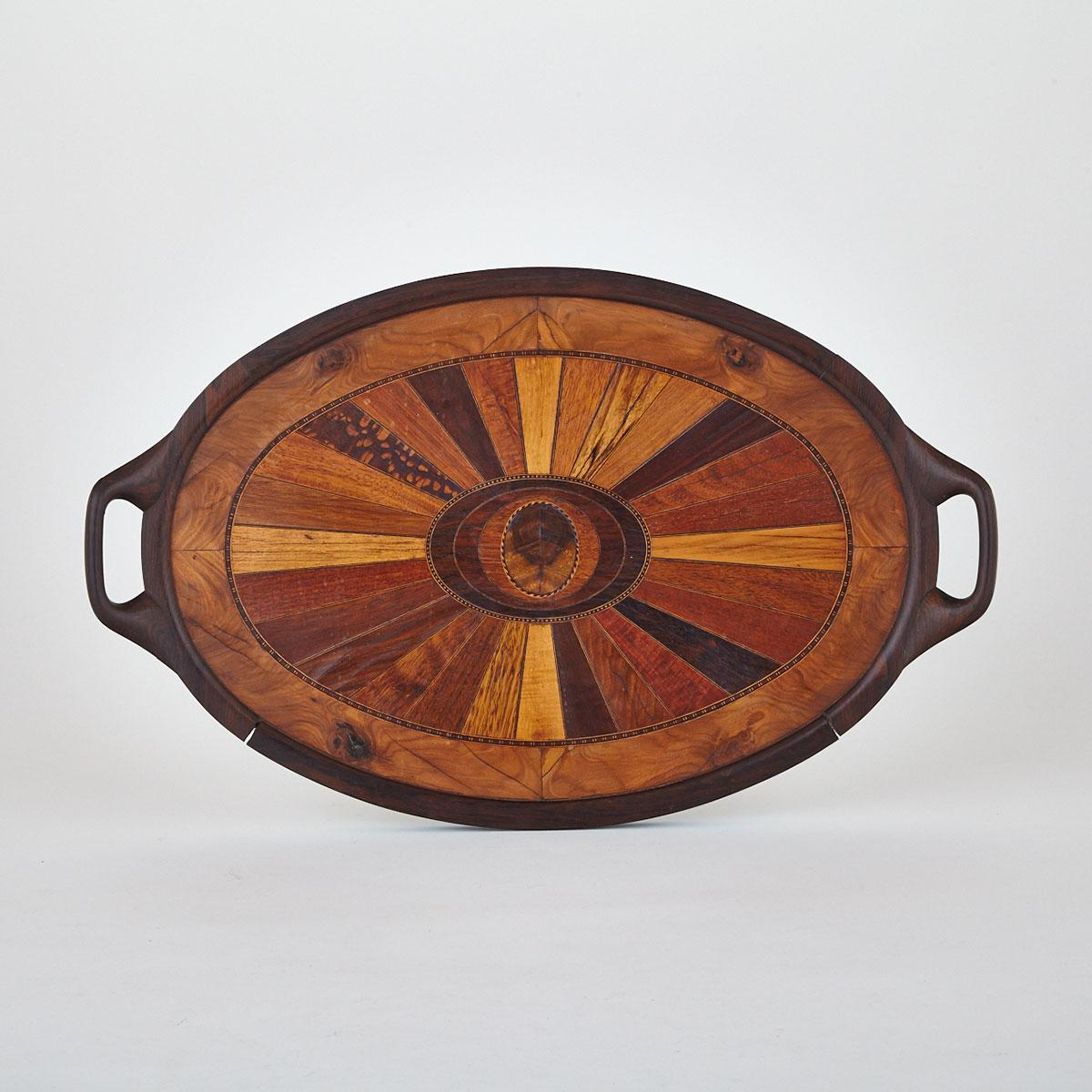 Specimen Wood Parquetry Inlaid Tea Tray, early-mid 20th century
