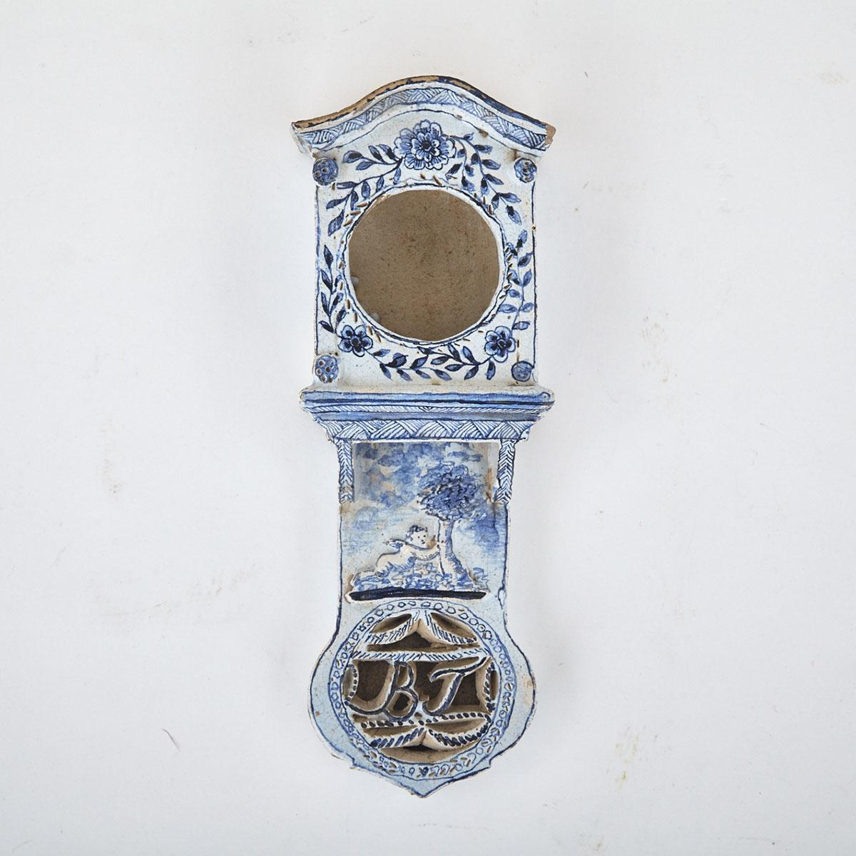Delft Blue and White Watch Holder, early 19th century