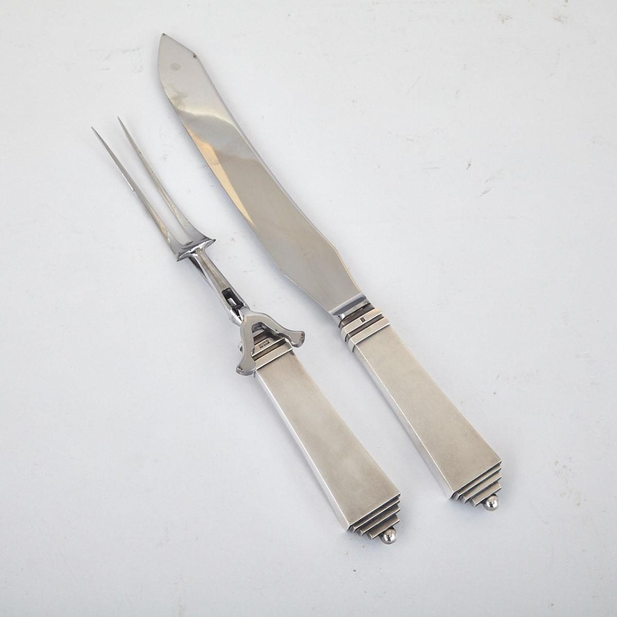 Danish Silver 'Pyramid' Pattern Carving Knife and Fork, Harald Nielsen for Georg Jensen, Copenhagen, c.1933-44