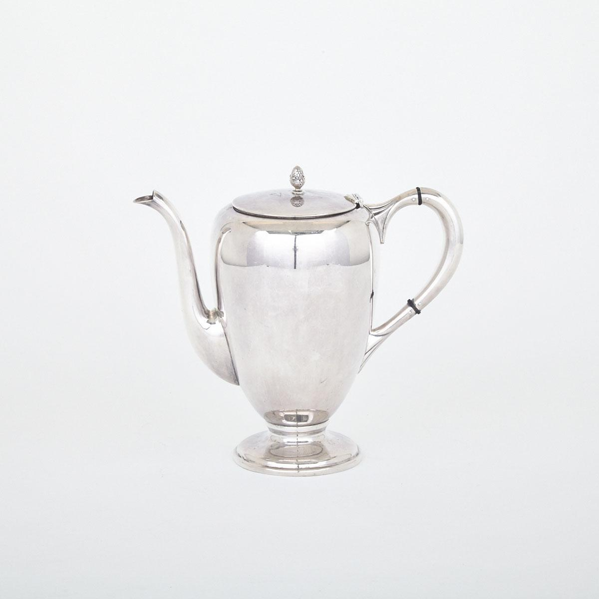American Silver Coffee Pot, M. Fred Hirsh Co., Jersey City, N.J., 20th century