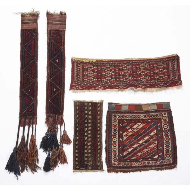 Five Various Pilewoven Turkoman, Baluch and Shasavan Textiles, early to mid. 20th century