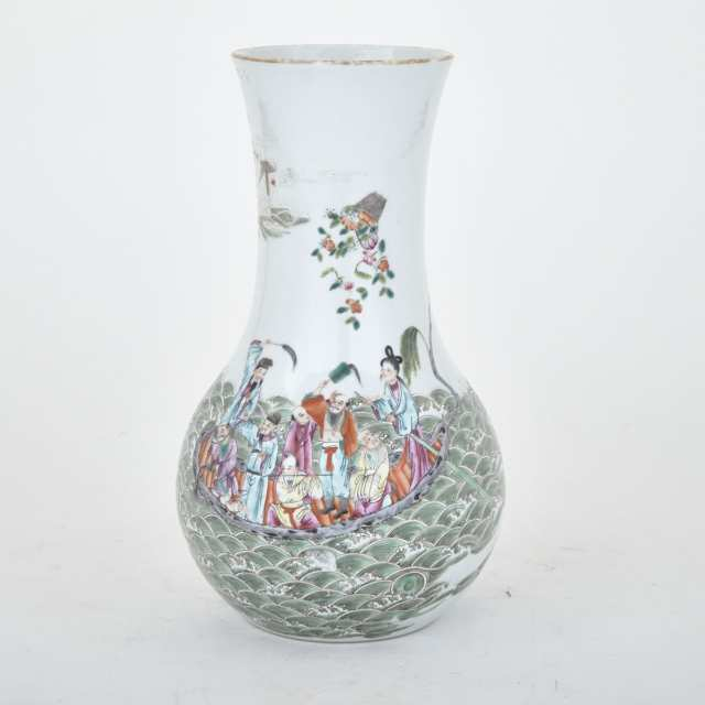 Finely Painted Famille Rose Immortals Vase, Jiaqing Mark