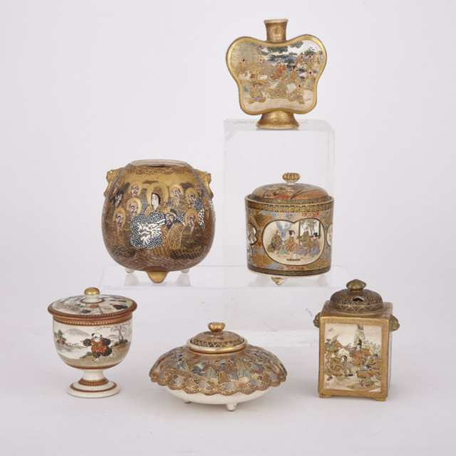 Six Satsuma Vessels, Most Signed,  Circa 1900-1910
