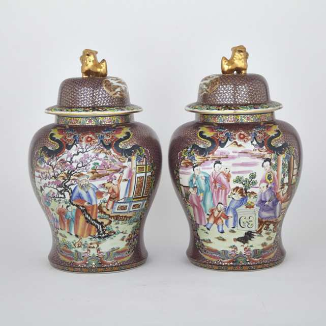 Pair of Large Export Mandarin Rose Vases and Covers