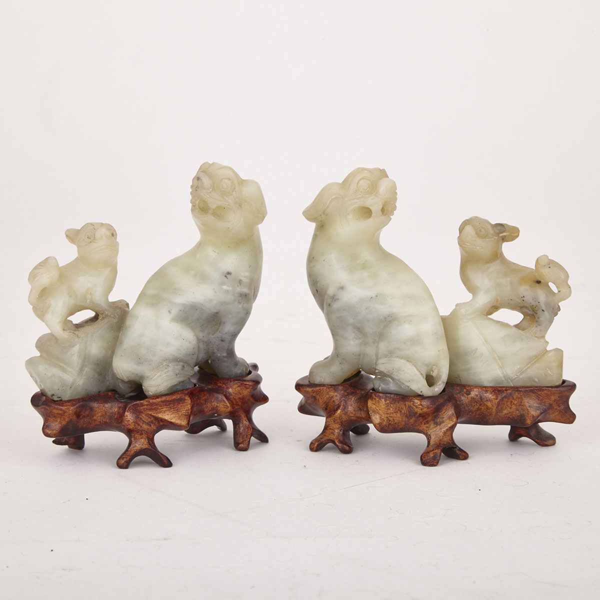 Pair of Pale Celadon Jade Fu-Dogs, Republican Period