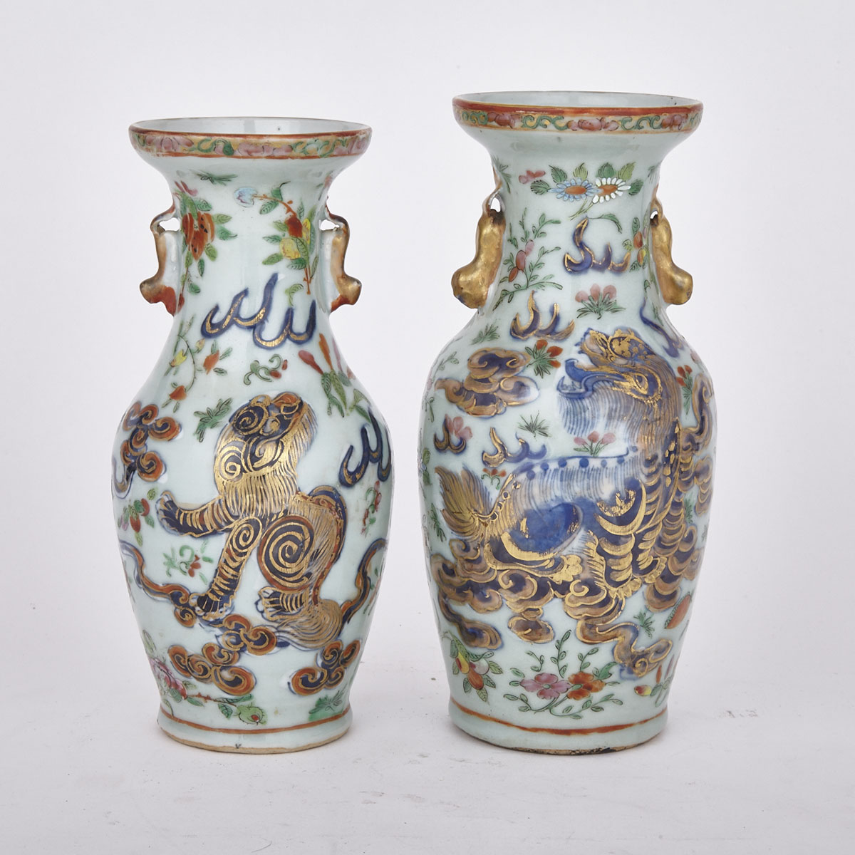 Pair of Export 'Clobbered' Famille Rose Baluster Vases, 19th Century