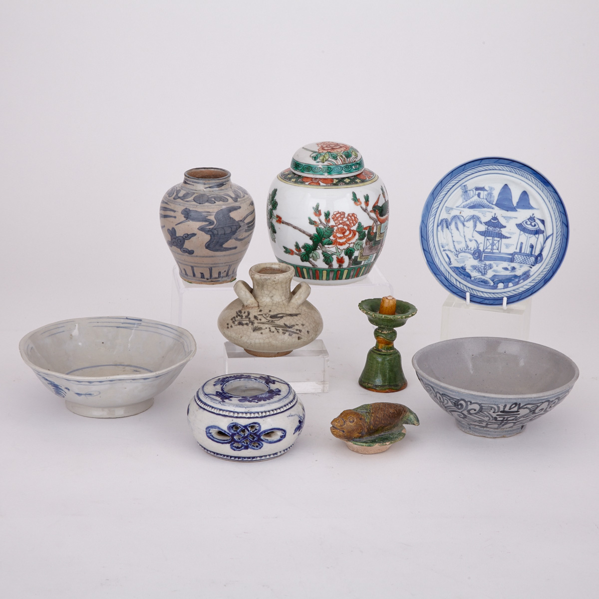 Group of Nine Asian Wares, China and Thailand