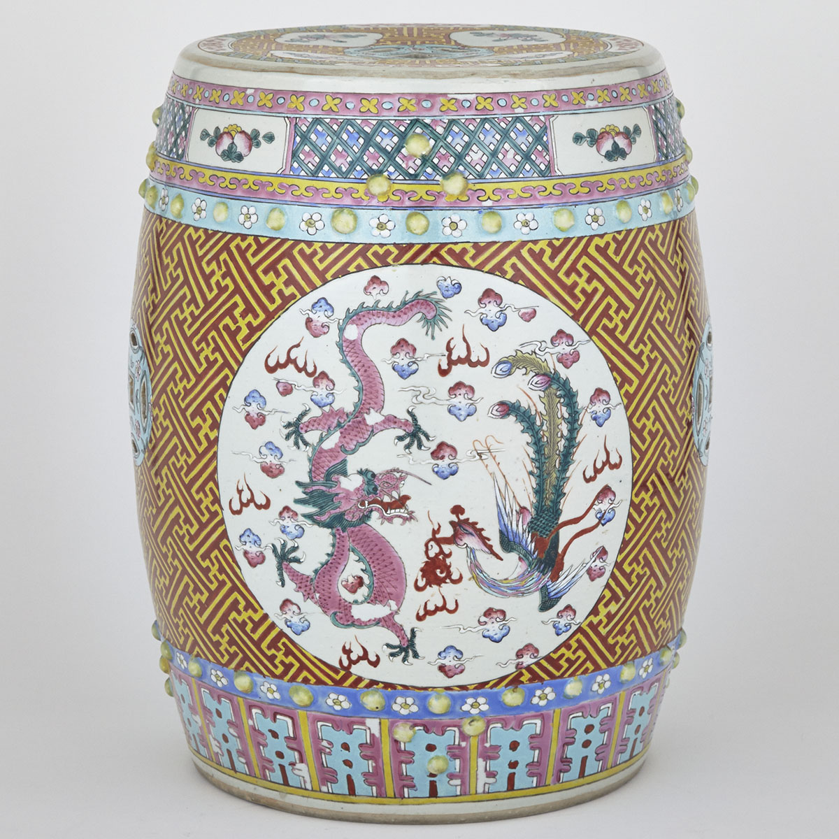 Famille Rose 'Dragon and Phoenix' Drum Stool, Republican Period