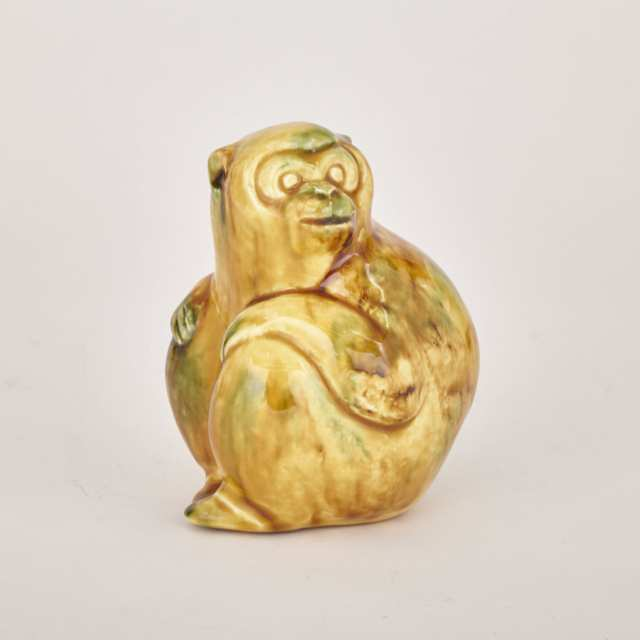 Japanese Spinach and Egg Glazed Pottery Monkey, mid 20th century