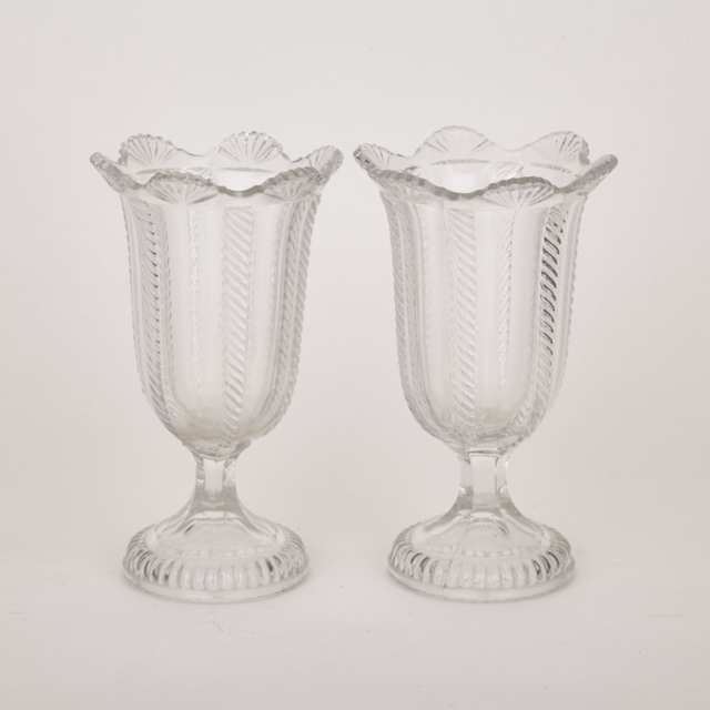 Pair of Boston & Sandwich Glass Co. Cable Pattern Celery Vases, mid 19th century