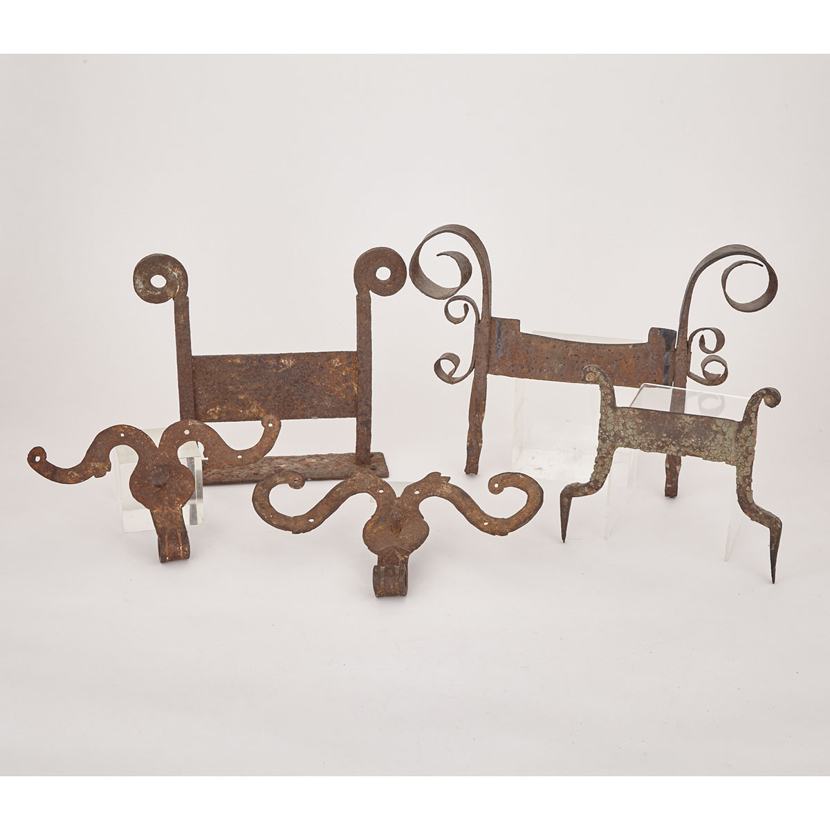 FIve Pieces Victorian Wrought Iron, 19th century