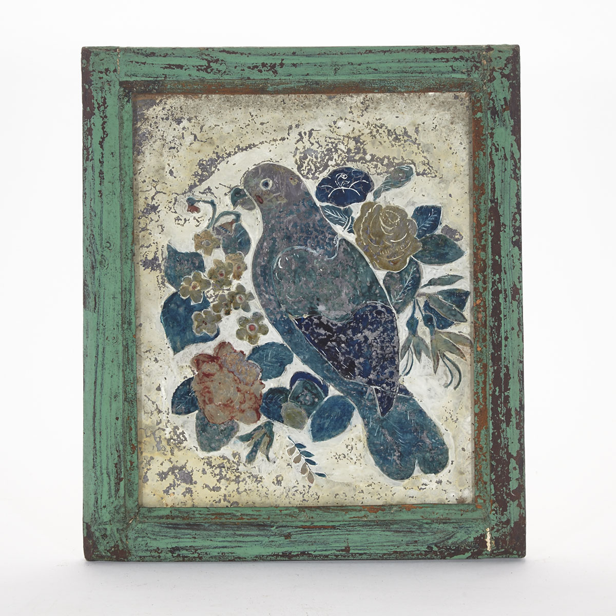 Victorian Tinsel Back Reverse Painting on Glass, mid 19th century