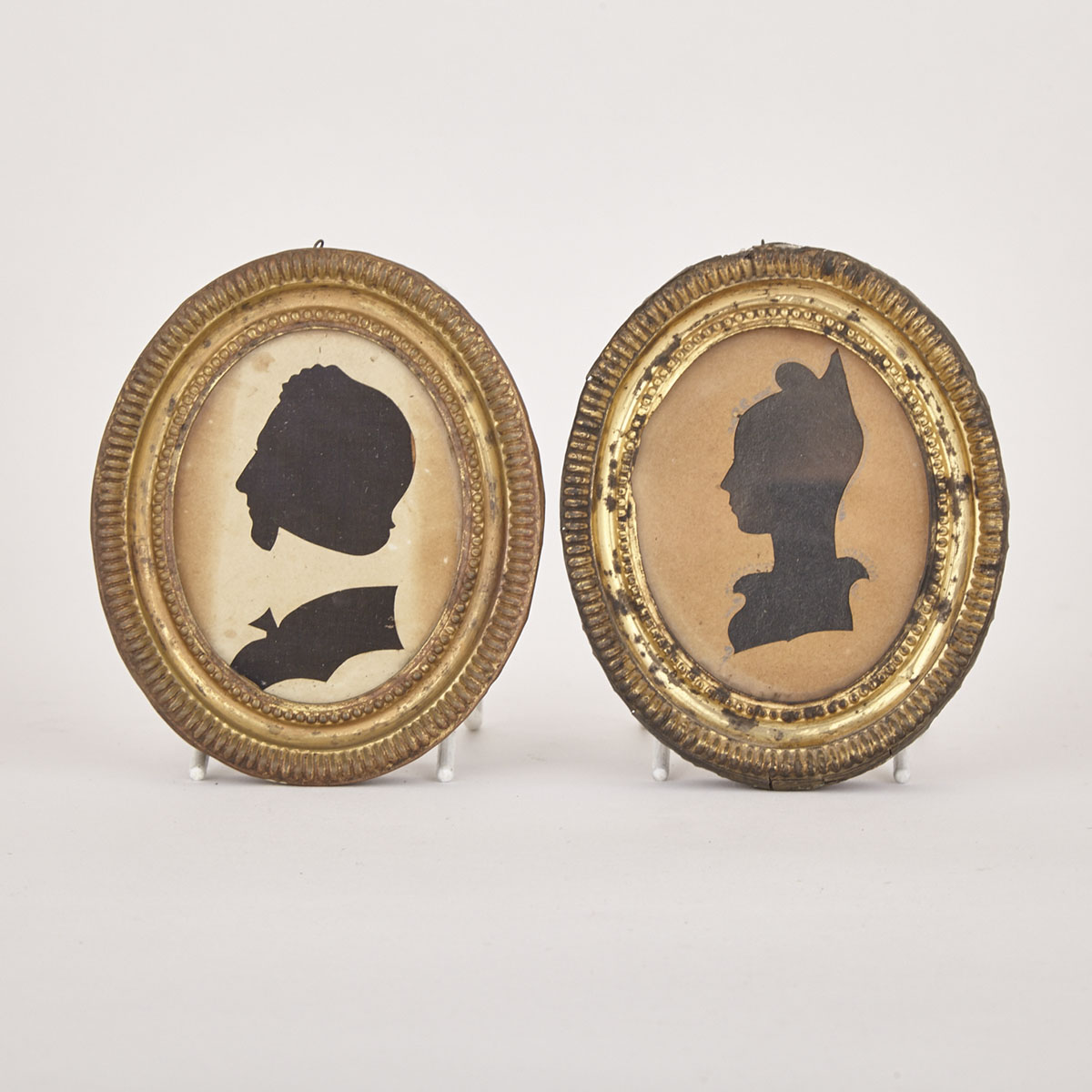 Pair of Regency Silhouette Portrait Ovals, early 19th century