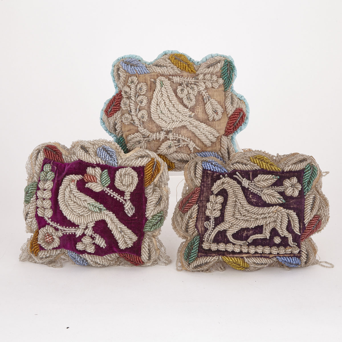 Three Large Iroquois Beaded Pin Cushion Whimsies, late 19th/early 20th century