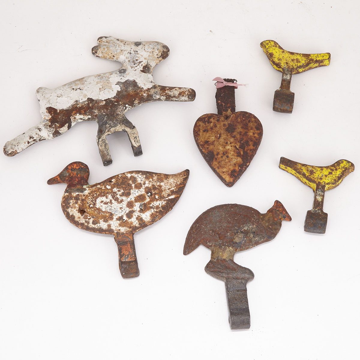 Collection of Six Painted Cast Iron Carnival Shooting Gallery Targets, 19th/early 20th century