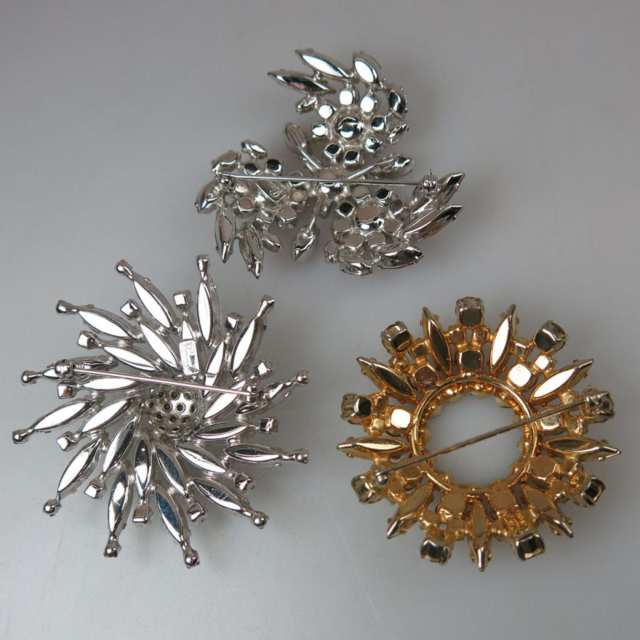 Three Sherman Silver Tone And Gold Tone Metal Brooches