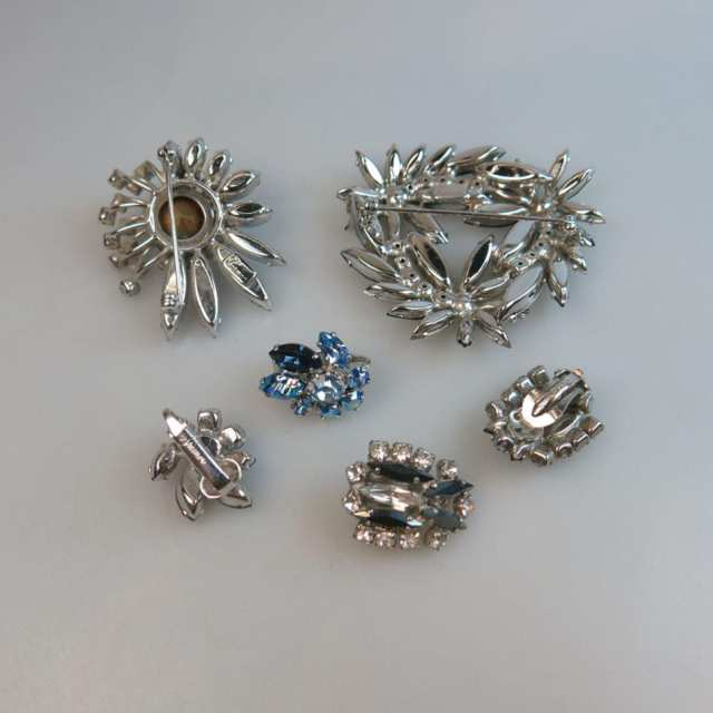 Two Sherman Silver Tone Metal Brooch And Earring Suites