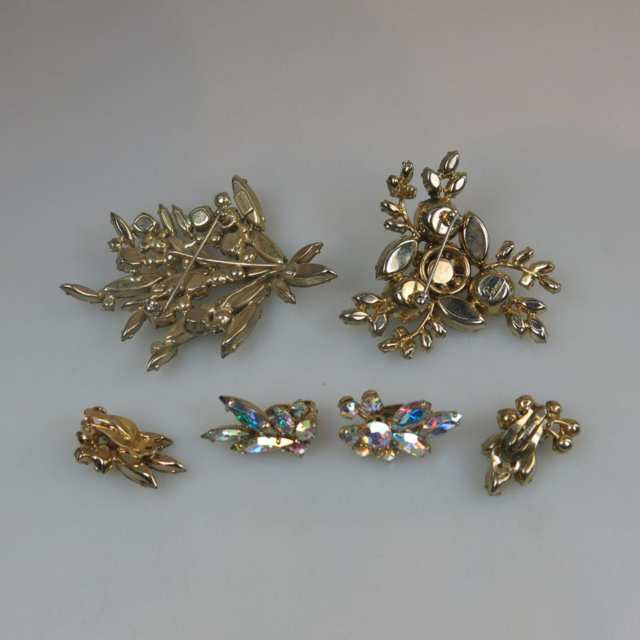 Two Sherman Gold Tone Metal Brooch And Earring Suites