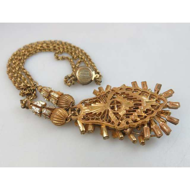 Miriam Haskell Gold Tone Metal Necklace
