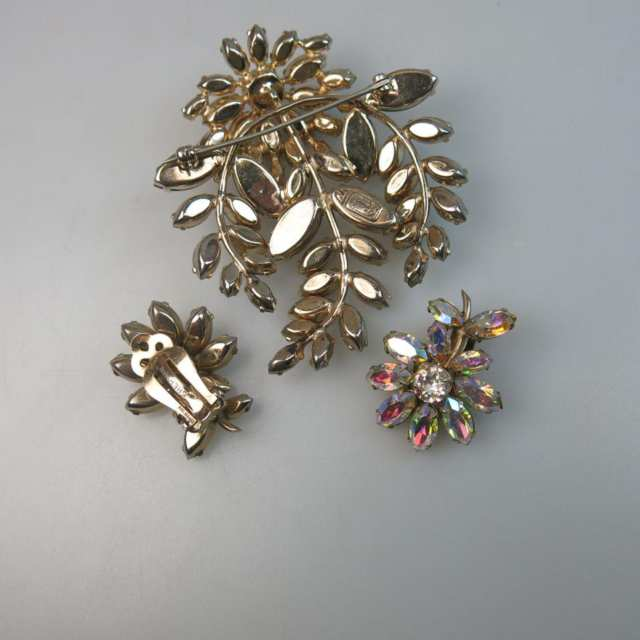 Sherman Gold Tone Metal Brooch And Earrings