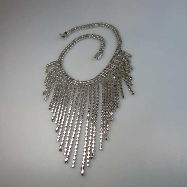 Silver Tone Metal Fringe Necklace