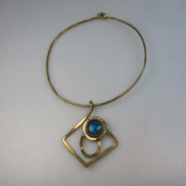 Rafael Canadian Brass Collar Necklace And Pendant