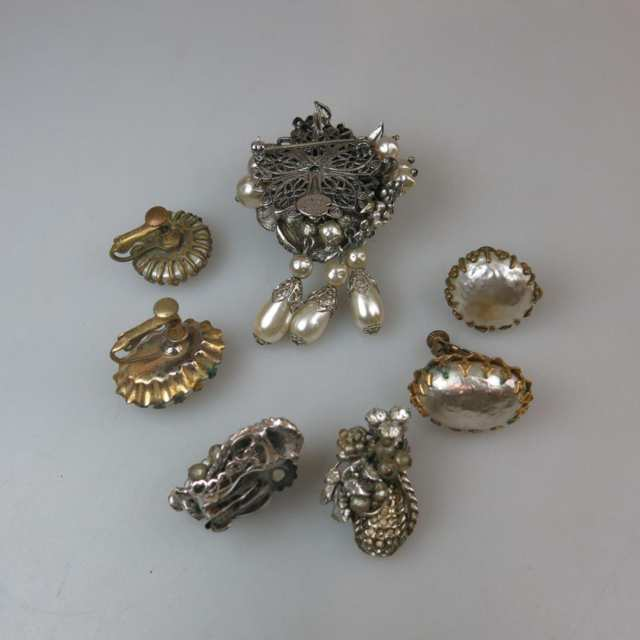 Original By Robert Silver Tone Metal Brooch And Earring Suite