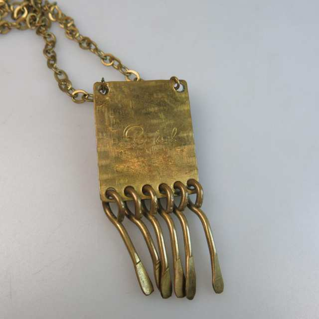 Rafael Canadian Brass Chain And Fringed Rectangular Pendant