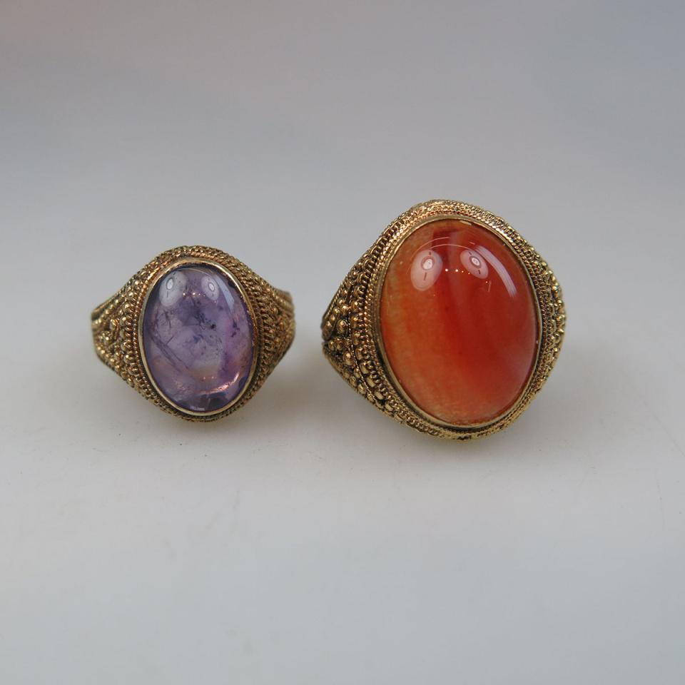 Two Silver Gilt Filigree Rings
